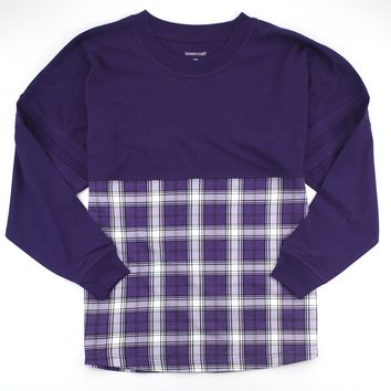 Purple and White Plaid Pom Pom Jersey