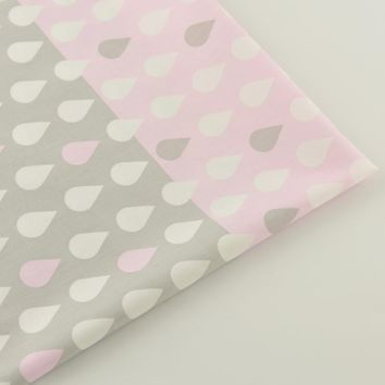 Raindrop Pink and Grey Designs Doll Scrapbooking Decoration Bedding Sewing Clothing Home Textile Quilting Patchwork Fabrics
