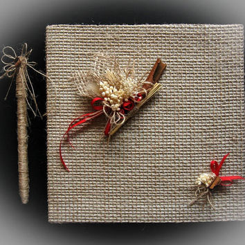 Rustic Wedding Guest Book With Pen, Personalized Guest Book Burlap and Flax, Wedding Guestbook, Wedding Sign In Book, Wedding Guest Album