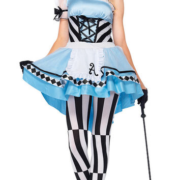 Striped Alice In Wonderland Costume Set