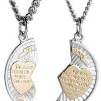 "Sterling Silver Mizpah Medal Necklace with Stainless Steel Chains, 20"" and 24"""