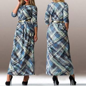 Streetstyle  Casual Blue Plaid Pleated Buttons Elegant 3/4 Sleeve Maxi Dress