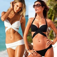 2013 popular Women Vintage Sexy Push Up Padded Swimsuit Bikini Trikini Beachwear black size S