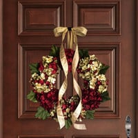 Christmas Wreath | Blended Hydrangea Wreath | Holiday Door Decor | Cranberry Red Hydrangea | Christmas Front Door Wreath | Wreaths for Door