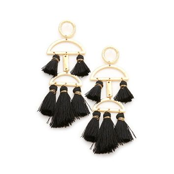 Abstract Tassel Earrings - black