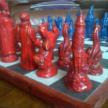 Large Dragons, Wizards, Mystic & Magic, Pegasus Chess Set - Free shipping