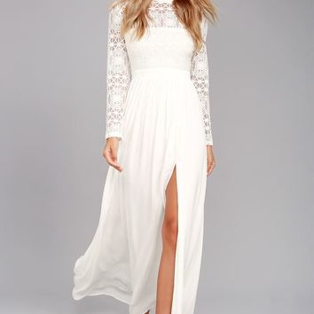 In Dreams White Long Sleeve Lace Maxi Dress