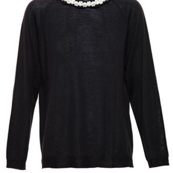 SIMONE ROCHA | Merino Wool Jumper with Pearl Collar | brownsfashion.com | The Finest Edit of Luxury Fashion | Clothes, Shoes, Bags and Accessories for Men & Women