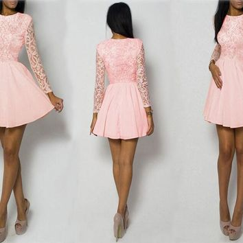 Pink Lace Little Skater Dress