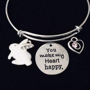 Bunny You Make My Heart Happy Expandable Charm Bracelet Silver Adjustable Bangle Trendy Bunny Rabbit Easter Gift Pink Crystal Heart