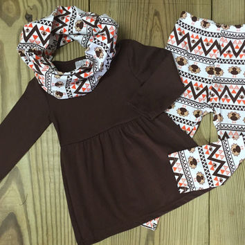 Aztec 3 pc Brown Turkey Scarf Outfit
