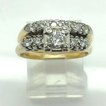 ANTIQUE DIAMOND ENGAGEMENT RING W/ DIAMOND BAND!! TWO TONE 14K GOLD! BEAUTIFUL!! 100100