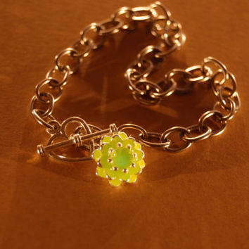 Glow in the Dark - Green Aqua  Charm Bracelet - Toggle Chain Heart Clasp - Lotus Flower