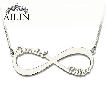 Wholesale Personalized Infinity Necklace Two Name Necklace Silver Lover Necklace Jewelry Valentine's Day Gift
