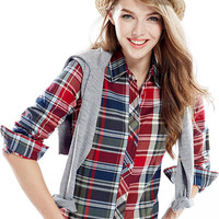 Red And Blue Plaid Print Long Sleeve Shirt Collar Blouse