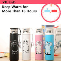 VILEAD Big Hero Stainless Steel Handgrip Thermos Mug Garrafa Termica Belly Cup Termos Vacuum Flasks with keychain Water Bottle