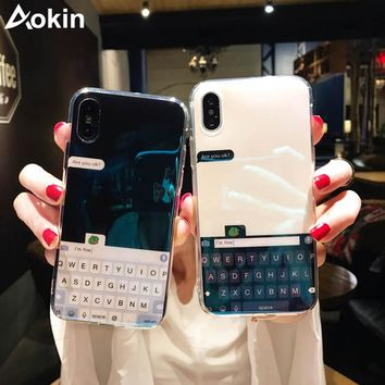 Aokin Luxury Bule Ray Light keyboard Mirror Cases For iPhone X 6 6S Plus Case Silicone Soft TPU Phone Cover For iPhone 7 8 Plus