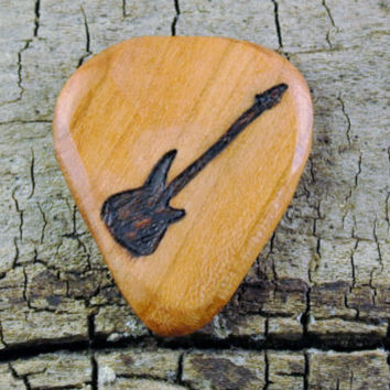 Electric Guitar Design engraved on a Wooden Guitar Pick or Other Designs Available - Wood Guitar Pick - Custom Guitar Pick - Engraved Pick