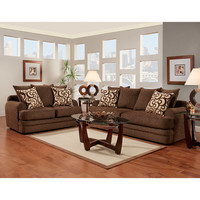 Exceptional Designs Living Room Set in Caliber Walnut Chenille