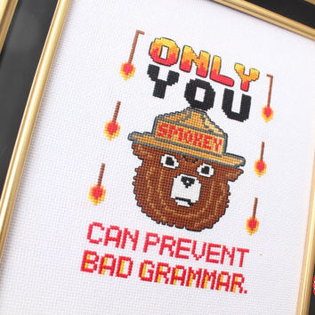 Counted Cross Stitch Kit - Smokey the Bear Grammar - Beginner Friendly DIY
