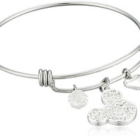 """Disney Stainless Steel Catch Bangle with Silver Plated Crystal Mickey Mouse Head, """"I Love Mickey"""", Heart and Crystal Bead Charm Bangle Bracelet"""