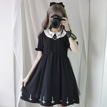 Vintage Gothic Cross Mini Dress Women Black Retro A-Line Dress Puff Sleeve Goth Female Summer Peter pan Collar Dresses Preppy