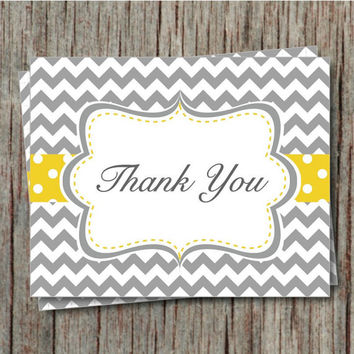 Thank You Birthday Party Baby Shower Bridal Party Thank You Cards Instant Download Yellow Grey Chevron - 001