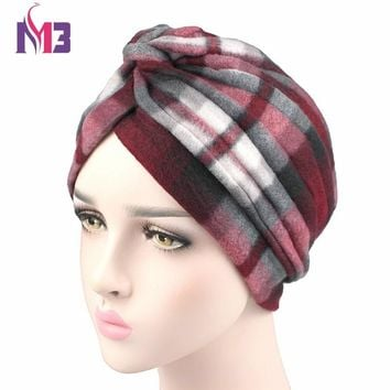 Winter New Fashion Women Turban Cashmere Turban Headband Thick Warmer Chemo Headwear Muslim Turban Hijab Turbante Hat