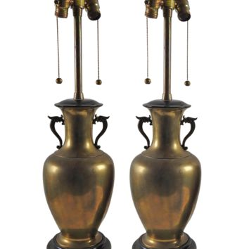Vintage Dragon Marbro Brass Urn Lamp  Pair