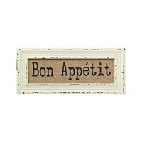 Vintage Bistro Burlap Printed Framed Wall Decor for Kitchen Dining Restaurant (Bon Appetit)