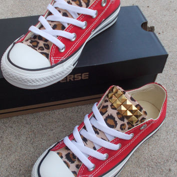 Leopard Studded Converse Shoes