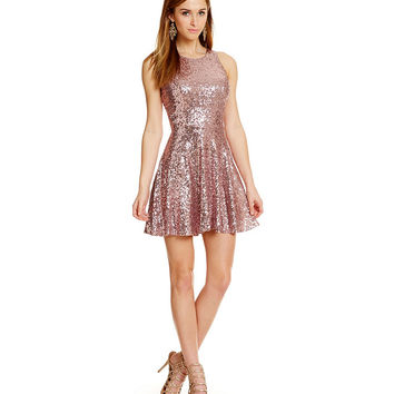 Midnight Doll Sleeveless Metallic Sequin Skater Dress | Dillards