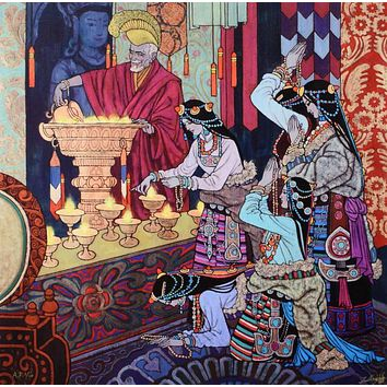 Lamp Lighting Ritual - Limited Edition Artist Proof Giclee on Canvas by Zu Ming Ho