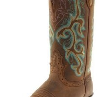 "Justin Boots Women's Stampede Collection 12"" Boot Wide Square Single Stitch Toe Western Rubber Outsole,Medium Brown,7 B US"