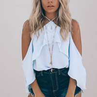 A Little Excitement Powder Blue Off The Shoulder Ruffled Top