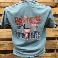 Backwoods to the Bone Deer Skull Born & Raised  Comfort Colors Bright Unisex T Shirt