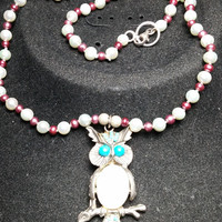 Real Hand knotted Pearls Owl Mother of pearl and Faux Turquoise Necklace