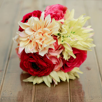 Spring Silk Wedding Bouquet in Pastel Peach Fuchsia Lime and Cream Dahlia Ranunculus and Rose