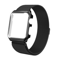 FOHUAS milanese loop frame case for apple watch Series 1 2 band iwatch 38mm 42mm stainless steel metal strap Protect Magnetic