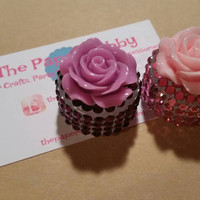 Pink Rose - 5g Bling Dab Jar / Plastic Storage Container - Ready to Ship