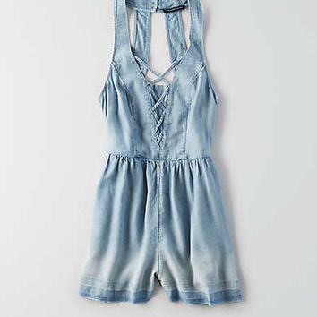 AEO Denim Lace-Up Romper, Blue