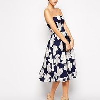 Chi Chi London Bandeau Midi Full Skater Dress In Floral Print
