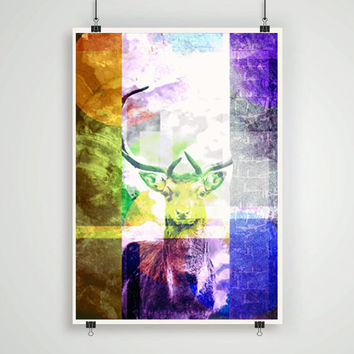 Abstract art  print deer antlers nature poster wall art room decor