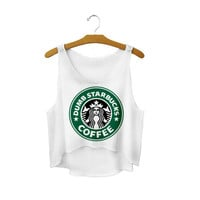 Women's Starbucks Coffee Harajuku Style Loose 3D Print Cute Sexy Girl Cropped Sports Summer Camisole Youth Tank Top Crop Top