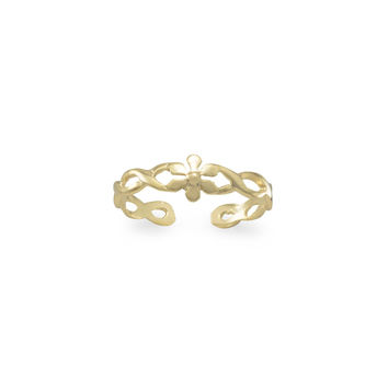 Flower Toe Ring in 14k Gold Plated Sterling Silver