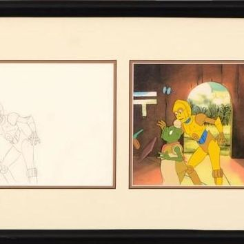 C3PO & Waiter - Diptych with Original Production Drawing on Paper and Hand Painted Production Animation Cel by Filmation Associates