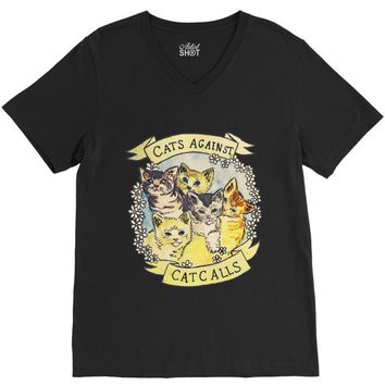 cats against cat calls V-Neck Tee