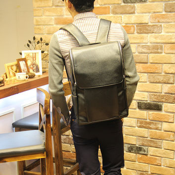 Men's 15 Inch Laptop Bag Black Leather Travel Backpack