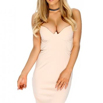 Sexy Beige Plunge Detailed Cutouts Sleeveless Bodycon Party Dress