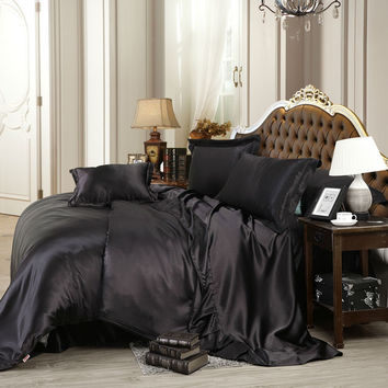 mysterious pure black silk sheets set soft gentle feeling bedding sets Twin Queen King size sheet set coverlets